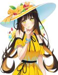 1girl absurdres bangs bare_shoulders blush bow bracelet brown_hair closed_mouth clothing_cutout commentary_request dress food fruit glass hand_up hat hat_bow highres jewelry lemon lemon_slice long_hair looking_at_viewer multicolored_hair nail_polish niji_(rudduf232) original sash shiny shiny_hair shoulder_cutout smile solo strawberry sun_hat two-tone_hair white_background yellow_dress yellow_eyes yellow_nails
