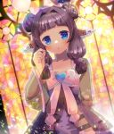1girl :o animal_ears bangs black_hair blue_eyes blush bow commentary_request double_bun dress eyebrows_visible_through_hair hair_intakes hair_ornament hand_up heart heart_hair_ornament kouu_hiyoyo long_hair looking_at_viewer original parted_lips pink_bow purple_dress see-through see-through_sleeves solo stained_glass