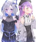 2girls absurdres amane_kanata angel bare_shoulders black_skirt blue_hair blush candy colored_inner_hair cowboy_shot eye_contact food gloves halo highres holding holding_candy holding_food holding_lollipop hololive lollipop looking_at_another lying multicolored_hair multiple_girls partially_fingerless_gloves pink_hair purple_hair silver_hair skirt sob star_halo sutei_(arece15) tokoyami_towa virtual_youtuber white_background