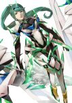 1girl bangs blazpu breasts chest_jewel feet_out_of_frame gloves green_eyes green_hair highres lips long_hair medium_breasts parted_lips pneuma_(xenoblade) ponytail simple_background solo swept_bangs tiara white_background xenoblade_chronicles_(series) xenoblade_chronicles_2