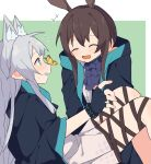 2girls amiya_(arknights) animal_ears arknights bangs blush brown_hair bug butterfly butterfly_on_nose cat_ears cat_girl closed_eyes coldcat. cravat dress extra_ears fingerless_gloves gloves green_eyes highres insect jacket laughing long_hair multiple_girls open_mouth rabbit_ears rabbit_girl rosmontis_(arknights) silver_hair sweatdrop thigh_strap yuri