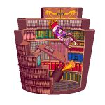 1girl animated animated_gif barefoot blue_bow book bookshelf bow chair chibi dress expressionless floating hat holding holding_book horn_(instrument) library lowres midair mob_cap moricchi musical_note patchouli_knowledge pixel_art purple_dress purple_hair red_bow solo table touhou transparent_background violet_eyes
