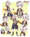 2boys arm_scarf bennett_(genshin_impact) blue_shorts brown_gloves character_name closed_eyes genshin_impact gloves goggles goggles_on_head green_eyes grey_hair hair_between_eyes highres male_focus multiple_boys multiple_views navel open_mouth razor_(genshin_impact) red_eyes scar scar_on_arm scar_on_face shorts simple_background sleeveless smile sweat tamakibi two-tone_background wet white_hair