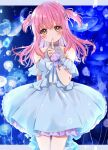 1girl blue_background blue_dress blush bow brown_eyes commentary dress hair_ribbon highres index_finger_raised jellyfish long_hair looking_at_viewer michiru_donut original pink_hair ribbon solo standing two_side_up