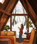 1girl bed blurry blurry_foreground book cup forest highres holding holding_cup hood hood_down hoodie indoors long_skirt looking_at_viewer mug muraicchi_(momocchi) nature open_book original profile skirt snow snowing solo standing vase window