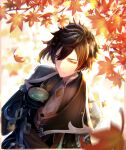 1boy autumn_leaves bangs black_gloves brown_hair closed_mouth collared_shirt commentary_request crossed_arms cup dappled_sunlight eyeliner eyeshadow falling_leaves formal from_above genshin_impact gloves gradient_hair hair_between_eyes highres holding holding_cup jacket jewelry leaf light_particles long_hair long_sleeves makeup male_focus maple_leaf multicolored_hair necktie orange_hair ponytail red_eyeshadow shirt solo sparkle suit sunlight tea teacup thumb_ring towako_towatowa yellow_eyes zhongli_(genshin_impact)