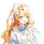 1girl :d apron bangs blush bow bowtie copyright_request eyebrows_visible_through_hair flower frills green_eyes hair_bow headdress highres holding holding_flower juliet_sleeves long_hair long_sleeves looking_at_viewer maid maid_apron naru_0 open_mouth puffy_sleeves ribbon simple_background smile solo twitter_username upper_body white_background white_bow white_flower