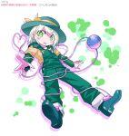 1girl boots gloves green_eyes green_overalls green_sleeves hat komeiji_koishi overalls pink_gloves shimizu_pem shirt smile splotch third_eye touhou undershirt white_background white_hair yellow_shirt