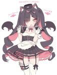 1girl :d animal_ears apron bangs black_dress black_hair black_headwear black_wings blade_(galaxist) blush breasts cat_ears commentary_request congratulations detached_wings double_w dress eyebrows_visible_through_hair fang feet_out_of_frame garter_straps gloves hands_up hat long_hair looking_at_viewer middle_w milestone_celebration mini_hat multicolored_hair nekoyama_nae open_mouth puffy_short_sleeves puffy_sleeves red_eyes redhead short_eyebrows short_sleeves simple_background small_breasts smile solo thick_eyebrows thigh-highs toranoana twintails two-tone_hair very_long_hair virtual_youtuber w waist_apron white_apron white_background white_gloves white_legwear wings