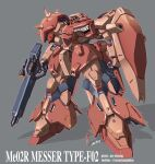 an-chang artist_name beam_rifle character_name energy_gun grey_background gun gundam gundam_hathaway's_flash highres holding holding_gun holding_shield holding_weapon mecha messer_(mobile_suit) mobile_suit science_fiction shield silhouette size_comparison solo_focus standing visor weapon