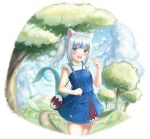 1girl animal_ears arm_up bag bangs blue_dress blue_sky blush breasts cat_ears clouds cowboy_shot day dress eyebrows_visible_through_hair fish_tail forest gawr_gura hair_bobbles hair_ornament handbag highres hill holding holding_hair hololive hololive_alternative hololive_english multicolored_hair nature one_side_up open_mouth outdoors pinafore_dress planted planted_sword road shark_tail sharp_teeth shirt short_dress short_hair silver_hair sky sleeveless sleeveless_shirt small_breasts smile solo standing streaked_hair sword symbol_commentary tail teeth twitter_username upper_teeth vellistix virtual_youtuber weapon white_shirt
