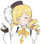 1girl bangs black_gloves blonde_hair blush breasts closed_eyes closed_mouth drill_hair facing_viewer fingerless_gloves gloves highres index_finger_raised large_breasts long_hair mahou_shoujo_madoka_magica sketch smile solo swept_bangs tomoe_mami twin_drills upper_body young_savage