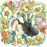 1girl aqua_eyes bangs black_skirt blonde_hair breast_pocket clothing_cutout commentary floral_background flower flower_request full_body gladiator_sandals green_shirt hair_ornament hairclip hands_together head_tilt interlocked_fingers kagamine_rin light_smile looking_at_viewer open_mouth pink_flower pleated_skirt pocket puffy_sleeves red_flower sandals shirt short_hair short_sleeves shoulder_cutout skirt swept_bangs vocaloid white_flower whiteskyash