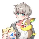 >_< 1girl ^_^ alternate_costume bangs blue_eyes blush character_request closed_eyes collarbone eyebrows_visible_through_hair flat_chest gen_2_pokemon hair_behind_ear head_tilt heart hime_gongju holding holding_pokemon looking_at_viewer nijisanji nijisanji_kr oh_jiyu pokemon pokemon_(creature) shirt silver_hair smile solo_focus togepi tongue tongue_out upper_body v-shaped_eyebrows virtual_youtuber white_shirt