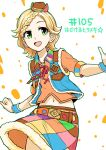 1girl :d aikatsu!_(series) belt blue_vest braid braided_bun brown_belt character_request cowboy_hat cowboy_shot green_eyes hat midriff mini_hat multicolored multicolored_clothes multicolored_skirt navel open_mouth orange_shirt outstretched_arms shirt skirt smile solo spread_arms vest wristband yoban