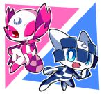 1boy 1girl 2020_summer_olympics :d blue_eyes bright_pupils commentary_request katanagi1129 looking_at_viewer miraitowa olympics one_eye_closed open_mouth red_eyes smile someity white_pupils