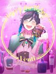 1boy alcohol androgynous bangs beer_mug beret black_hair blue_hair blush bottle bow braid brooch cape character_name closed_eyes collared_cape collared_shirt corset cup drinking_glass english_commentary english_text eyebrows_visible_through_hair flower frilled_sleeves frills gem genshin_impact gradient_hair green_headwear happy_birthday hat hat_flower highres holding holding_cup jewelry kureiro_natsuhi leaf long_sleeves male_focus mug multicolored_hair open_mouth pink_background shirt short_hair_with_long_locks smile solo sparkle symbol_commentary twin_braids venti_(genshin_impact) white_flower white_shirt wine wine_bottle wine_glass