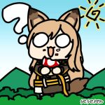 1girl :3 :d animal_ears arknights artist_name bangs black_jacket blue_sky ceobe_(arknights) chibi chinese_commentary commentary_request day holding jacket long_sleeves lowres mushroom o_o open_mouth outdoors seseren sky smile solo sun tail