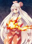1girl bangs blue_background bow collar eyebrows_visible_through_hair eyes_visible_through_hair fire fujiwara_no_mokou gradient gradient_background hair_bow hand_on_hip hand_up long_hair looking_at_viewer multicolored_bow open_mouth pants purple_background red_bow red_eyes red_pants shirt short_sleeves smile solo standing tomobe_kinuko touhou white_bow white_collar white_hair white_shirt white_sleeves