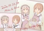 2girls animal_print apron bangs bear_print birthday birthday_cake black_neckwear black_skirt blouse blowing boko_(girls_und_panzer) bow bowtie brown_eyes brown_hair cake candle casual character_name closed_mouth collared_shirt commentary dated english_text eyebrows_visible_through_hair food girls_und_panzer green_skirt happy_birthday high-waist_skirt highres holding holding_plate light_brown_eyes light_brown_hair long_hair long_sleeves looking_at_another miniskirt multiple_girls namakurage neckerchief nishizumi_miho one_side_up ooarai_school_uniform open_mouth parted_lips pink_apron plate pleated_skirt sailor_collar school_uniform serafuku shimada_arisu shirt short_hair skirt smile standing suspender_skirt suspenders white_blouse white_sailor_collar white_shirt