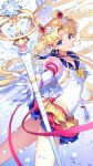 1girl bishoujo_senshi_sailor_moon blonde_hair blue_background blue_sailor_collar commentary_request crescent crescent_facial_mark double_bun eternal_sailor_moon eternal_tiare facial_mark forehead_mark gloves gradient gradient_background highres holding holding_staff long_hair looking_at_viewer magical_girl multicolored multicolored_clothes multicolored_skirt nardack sailor_collar sailor_moon sailor_senshi_uniform skirt solo staff thighs tsukino_usagi twintails very_long_hair white_background white_gloves