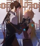 2boys aether_(genshin_impact) ahoge bangs belt black_gloves blonde_hair braid brown_hair commentary_request crop_top eyeliner formal genshin_impact gloves gradient_hair hair_between_eyes hand_on_another's_head holding holding_another's_arm jacket long_hair long_sleeves makeup male_focus midriff multicolored_hair multiple_boys open_mouth orange_hair ponytail scarf smile uadpm yellow_eyes zhongli_(genshin_impact)
