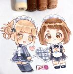 2girls :3 :d alternate_costume apron artist_name back_bow bangs black_bow black_neckwear blonde_hair blunt_bangs blush blush_stickers boku_no_hero_academia bow bowtie brown_eyes brown_hair chibi closed_mouth double_bun dress enmaided eyebrows_visible_through_hair fang fingers_together frilled_apron frilled_dress frills heart highres hikimayu holding holding_knife kneehighs knife long_sleeves looking_at_viewer looking_back maid maid_headdress marker_(medium) messy_hair multiple_girls open_mouth photoshop_(medium) sakura_(same-chan) short_hair short_sleeves signature simple_background skin_fang smile striped thick_eyebrows thigh-highs toga_himiko traditional_media uraraka_ochako vertical_stripes white_background white_bow white_legwear wrist_cuffs yellow_eyes