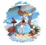1girl absurdres beach bikini blue_sky braid braided_ponytail coconut drink drinking_straw feet frills full_body genshin_impact hat highres long_hair luckin317 one-piece_swimsuit purple_hair qiqi_(genshin_impact) rainbow sky slime_(genshin_impact) solo starfish straw_hat swimsuit toes umbrella violet_eyes