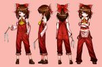 1girl boots bow_hairband brown_hair crossed_arms detached_sleeves gohei hair_tubes hairband hakurei_reimu japanese_clothes lying miko navel neckerchief on_back on_side overalls pocket red_headwear red_overalls shimizu_pem short_hair touhou