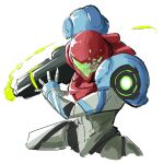 1girl arm_cannon automatic_giraffe broken_glass cropped_legs english_commentary glass looking_at_viewer metroid metroid_dread one_eye_covered open_hand power_armor samus_aran science_fiction sketch solo visor weapon white_background yellow_eyes