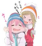 >_< 2girls aqua_jacket arms_up bangs beanie blonde_hair blue_headwear blue_jacket blush blush_stickers cheek_pinching closed_eyes coat commentary_request eyebrows_visible_through_hair fang fur-trimmed_coat fur-trimmed_hood fur_trim hair_intakes hand_up happy hat highres hood hood_down hooded_coat inuyama_aoi jacket kagamihara_nadeshiko multiple_girls murairamuraiari open_mouth parted_bangs pinching pom_pom_(clothes) red_coat short_eyebrows simple_background smile striped striped_headwear striped_sweater sweater translation_request white_background white_coat yurucamp