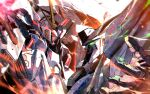commentary_request glowing glowing_eyes green_eyes gundam gundam_hathaway's_flash highres kuri_giepi looking_at_another mecha mobile_suit no_humans open_hand penelope_(hathaway's_flash) red_eyes science_fiction upper_body v-fin xi_gundam
