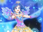 1girl :d aikatsu! aikatsu!_(series) blue_background blue_eyes blue_gloves blue_hair bracelet crown earrings eyebrows_visible_through_hair gloves gradient_gloves highres jewelry kiriya_aoi mini_crown one_side_up open_mouth outstretched_arms sidelocks skirt smile solo sparkle spread_arms standing tagme wings yellow_skirt yoban