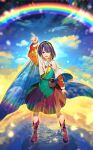 1girl blue_eyes blue_hair cape dress highres multicolored multicolored_clothes multicolored_dress multicolored_hairband patchwork_clothes pointing pointing_up rainbow rainbow_gradient red_button short_hair sky_print solo tenkyuu_chimata touhou two-sided_cape two-sided_fabric white_cape zounose