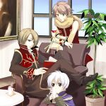 3boys alchemist_(ragnarok_online) animal_around_neck bangle bangs black_coat black_eyes blue_cape book bracelet brown_coat brown_eyes brown_hair brown_pants cape chair coat commentary_request cup detached_sleeves disposable_cup drinking_straw fox full_body hair_between_eyes holding holding_book indoors jewelry light_brown_hair long_sleeves looking_at_another male_focus mug multiple_boys open_clothes open_coat open_mouth painting_(object) pants plant potted_plant priest_(ragnarok_online) professor_(ragnarok_online) ragnarok_online red_coat red_shirt sasai_saki shirt shoes short_hair sitting sleeveless sleeveless_shirt standing striped_sleeves table two-tone_coat violet_eyes white_hair white_shirt white_sleeves window yellow_sleeves