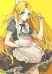 1girl apron aqua_eyes bangs black_dress blonde_hair bow cake commentary contrapposto cowboy_shot cream dress eating food frilled_dress frills hair_bow hair_ornament hairclip highres holding holding_cake holding_food holding_spoon kagamine_rin long_hair looking_at_viewer maid_apron mint neck_ribbon older red_neckwear ribbon short_sleeves solo spoon swept_bangs very_long_hair vocaloid white_bow whiteskyash yellow_background