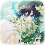 1boy androgynous argyle argyle_legwear bangs beret black_hair blue_hair blush bouquet braid cape character_name closed_mouth commentary_request english_text flower genshin_impact gradient_hair green_eyes green_headwear hair_flower hair_ornament happy_birthday hat highres holding holding_bouquet looking_at_viewer male_focus mikoto_(sgkt0422) multicolored_hair pantyhose short_hair_with_long_locks smile solo symbol_commentary twin_braids venti_(genshin_impact) white_flower white_legwear