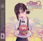 1girl artist_name black_eyes black_hair black_neckwear burger chainsaw_man collared_shirt crying crying_with_eyes_open dance_dance_revolution english_commentary english_text food game_console hair_between_eyes hair_ornament hairclip higashiyama_kobeni highres holding holding_plate long_sleeves looking_at_viewer medium_hair mole mole_under_eye mole_under_mouth open_mouth phoneafrog plate playstation shirt solo sweat symbol_commentary tears white_shirt
