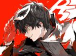 1boy amamiya_ren black_coat black_hair coat from_side gloves hair_between_eyes high_collar holding holding_mask male_focus mask persona persona_5 profile red_gloves sawa2 simple_background smile solo upper_body