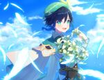 1boy androgynous bangs beret black_hair blue_hair blush bow braid cape clouds cloudy_sky collared_cape collared_shirt commentary_request corset day eyebrows_visible_through_hair feathers flower frilled_sleeves frills genshin_impact gradient_hair green_eyes green_headwear hat hat_flower highres holding holding_flower leaf long_sleeves looking_at_viewer male_focus multicolored_hair open_mouth outdoors shirt short_hair_with_long_locks sky smile solo tamakibi twin_braids venti_(genshin_impact) white_flower white_shirt