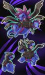 akihorisu black_sclera blue_background colored_sclera deino_(pokemon) evolutionary_line fangs gen_5_pokemon highres hydreigon no_humans open_mouth pokemon pokemon_(creature) simple_background violet_eyes zweilous