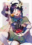 1boy androgynous apple argyle argyle_legwear bangs beret black_hair blue_hair blush bottle bow braid cape character_name collared_cape collared_shirt condensation confetti corset dated english_commentary english_text eyebrows_visible_through_hair flower food frilled_sleeves frills fruit genshin_impact gradient_hair green_headwear green_shorts hair_flower hair_ornament happy_birthday hat heart highres holding holding_bottle holding_clothes holding_hat leaf long_sleeves lukiarab male_focus multicolored_hair open_mouth pantyhose shirt short_hair_with_long_locks shorts simple_background smile solo symbol_commentary twin_braids twitter_username venti_(genshin_impact) white_flower white_legwear white_shirt wine_bottle