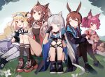 5girls :d ^_^ absurdres amiya_(arknights) angelina_(arknights) animal_ear_fluff animal_ears arknights bangs bare_shoulders black_footwear black_jacket black_legwear black_shorts black_skirt blonde_hair blue_hairband blush breasts brown_eyes brown_hair cat_ears cat_girl cat_tail closed_eyes closed_mouth commentary_request eyebrows_visible_through_hair fox_ears fox_girl fox_tail green_eyes grey_hair hairband hand_up highres jacket knees_up multiple_girls on_grass open_clothes open_jacket open_mouth pantyhose pleated_skirt purple_hair purple_neckwear purple_skirt rabbit_ears red_eyes red_hairband rippajun rosmontis_(arknights) rubbing_eyes shamare_(arknights) shirt shoes short_shorts shorts sitting skirt small_breasts smile socks stuffed_animal stuffed_toy suzuran_(arknights) tail twintails white_jacket white_legwear white_shirt