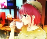 1girl absurdres arima_kana bangs black_eyebrows brown_sweater coffee coffee_cup cup disposable_cup drinking ears hair_behind_ear hat highres holding_hands open_mouth oshi_no_ko red_eyes redhead short_hair signature sweater yurigera_8959