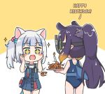 +_+ 2girls :o animal_ears bag bangs bare_arms bare_shoulders blue_dress blue_eyes blue_hair blue_swimsuit blush_stickers brown_hair candle cat_ears diving_mask dress english_text eyebrows_visible_through_hair fire fish_tail gawr_gura goggles gradient_hair hair_cubes hair_ornament hands_on_own_face hands_up holding holding_plate hololive hololive_english long_hair multicolored_hair multiple_girls ninomae_ina'nis one-piece_swimsuit open_mouth plate ponytail purple_hair rutorifuki shark_tail shirt shoulder_bag shrimp sidelocks sleeveless sleeveless_dress snorkel sparkle streaked_hair swimsuit tail two-tone_background very_long_hair virtual_youtuber wet white_background white_shirt yellow_background