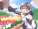 1girl african_penguin_(kemono_friends) bare_shoulders black_gloves black_hair black_skirt blurry bow bowtie bug butterfly commentary_request depth_of_field elbow_gloves flower gloves headphones high_collar highres insect kemono_friends long_hair microphone mitorizu_02 multicolored_hair official_alternate_costume penguin_girl penguin_tail pink_hair pleated_skirt reaching_out skirt sleeveless solo streaked_hair sweater tail virtual_youtuber white_hair white_sweater