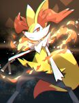 :< animal_ear_fluff braixen chromatic_aberration closed_mouth commentary fire from_below gen_6_pokemon highres holding holding_stick legs_apart looking_to_the_side makoto_ikemu orange_eyes outstretched_arm pokemon pokemon_(creature) solo standing starry_background stick white_fur