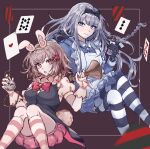 2girls aemono_(lemolemo_lmn) alice_(alice_in_wonderland) alice_(alice_in_wonderland)_(cosplay) alternate_costume bangs black_bow black_gloves blue_dress bow breasts bunny_hair_ornament card chain commentary_request cosplay danganronpa:_trigger_happy_havoc danganronpa_(series) danganronpa_2:_goodbye_despair dress eyebrows_visible_through_hair flipped_hair gloves hair_bow hair_ornament heart holding kirigiri_kyouko large_breasts long_hair looking_at_viewer multiple_girls nanami_chiaki pink_bow pink_eyes pink_shorts playing_card pocket_watch puffy_short_sleeves puffy_sleeves red_bow shiny shiny_hair short_sleeves shorts smile striped striped_legwear thigh-highs watch white_gloves white_rabbit_(alice_in_wonderland)