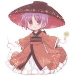 biyon bowl bowl_hat hat japanese_clothes kimono long_sleeves miracle_mallet needle purple_hair red_kimono sewing_needle short_hair simple_background smile sukuna_shinmyoumaru thread touhou violet_eyes white_background wide_sleeves