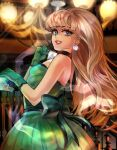 1girl aqua_dress aqua_eyes bangs blonde_hair blue_eyes blunt_bangs bow breasts chandelier choker diamond_(gemstone) diamond_choker diamond_earrings disembodied_limb dominica_([=^o^=]) dress earrings eyelashes ghost ghost_hands gravity_falls green_dress jewelry light_rays makeup mascara pacifica_northwest pink_lips portrait ribbon sleeveless sleeveless_dress smile solo_focus sparkle spirit strapless strapless_dress wavy_hair